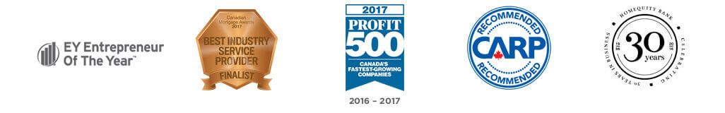 EY Entrepreneur of the Year. CMA Mortgage Awards Finalist, 2017 Profit 500 list, CARP Recommended, Celebrating 30 years in business